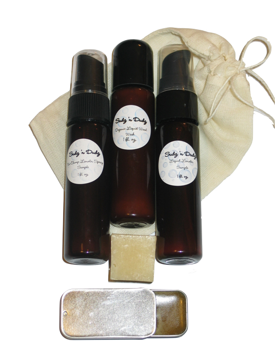 Sudz 'n Dudz Organic Wool Care Sample Package - Click Image to Close